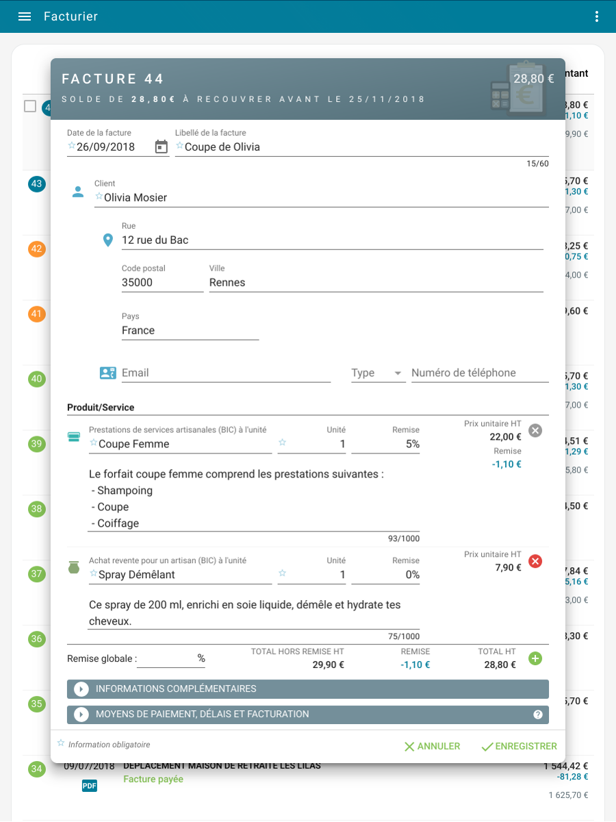 Editing a micro-business invoice on a tablet