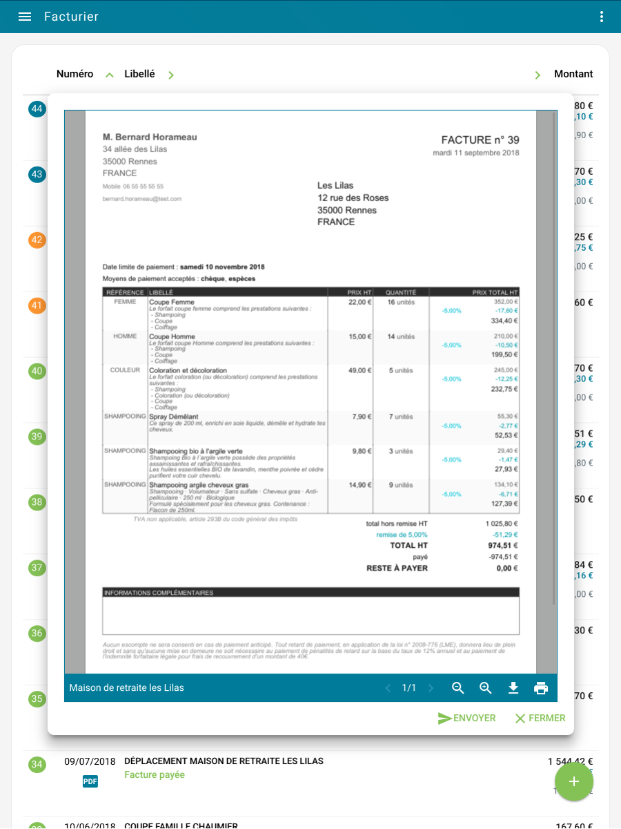 Viewing the invoice in PDF format on a tablet